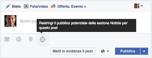 restringi pubblico Facebook