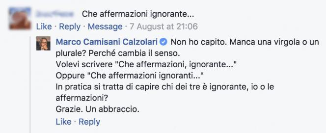 La risposta di Marco Camisani Calzolari ad un suo post