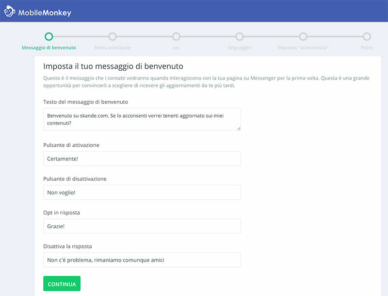 Configurazione MobileMonkey
