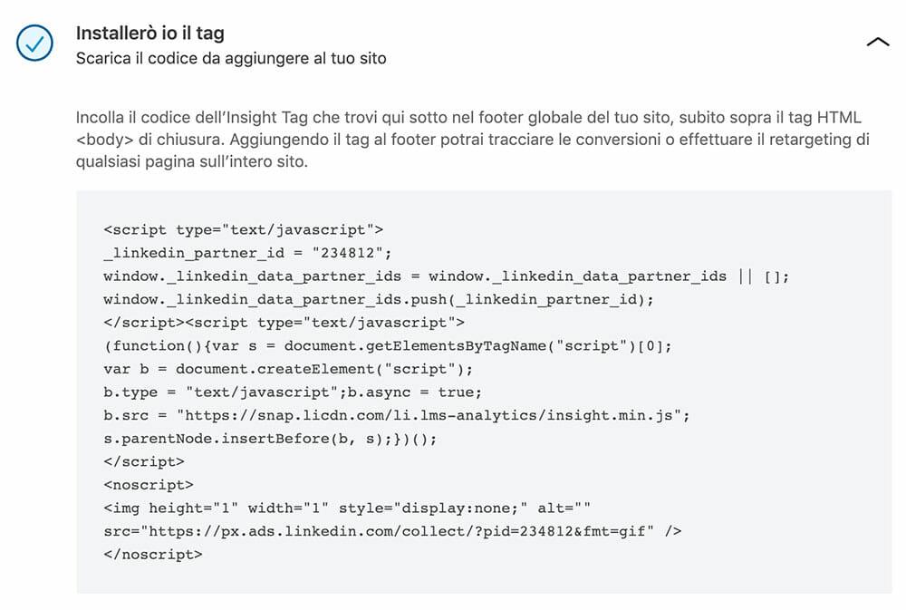 Insight Tag: Il codice Javascript